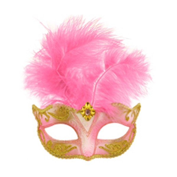 Henbrandt Glitter Eye Mask With Feather - Pink