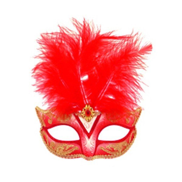 Henbrandt Glitter Eye Mask With Feather - Red