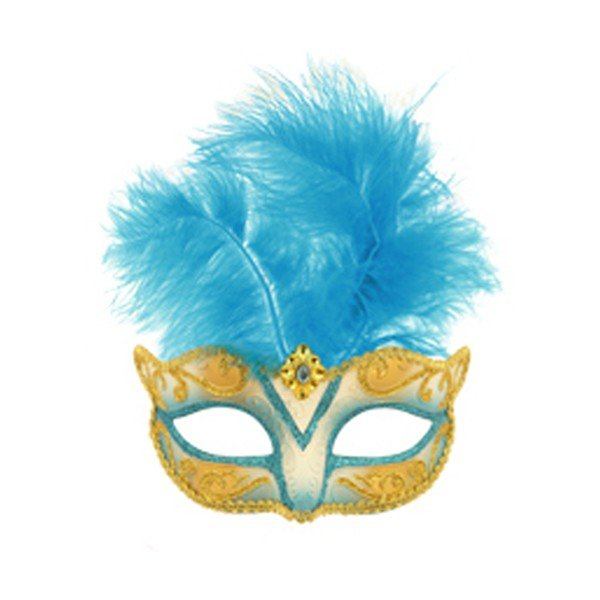 Henbrandt Glitter Eye Mask With Feather - Turquoise