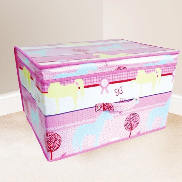Kids Folding Storage Chest - Pink Horses