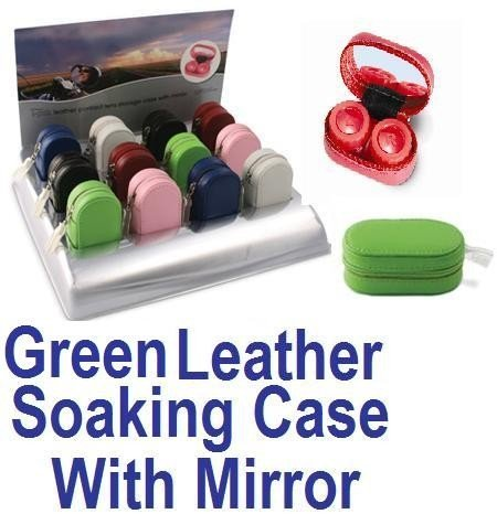 Green Leather Contact Lens soaking Case With Mirror