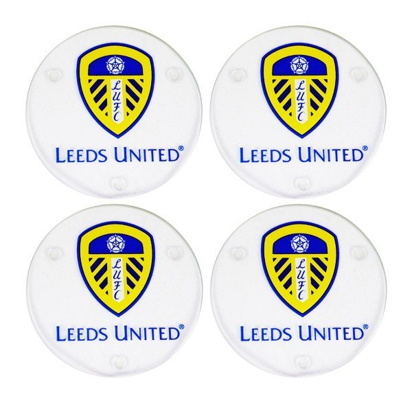 Leeds United Round Glass Coasters - 4PK