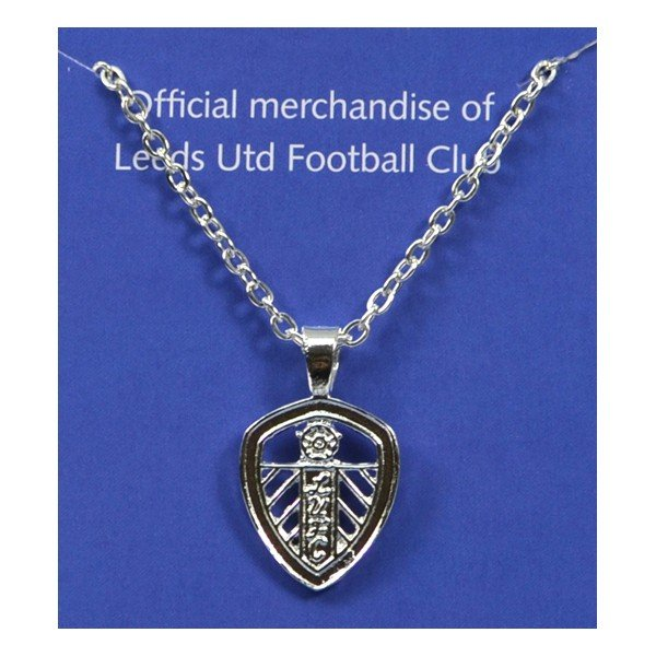 Leeds United Silver Plated Crest Pendant/Chain