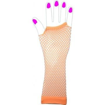 Two Long Neon Fishnet Fingerless Gloves one size - Orange
