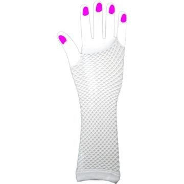 Two Long Neon Fishnet Fingerless Gloves one size - White