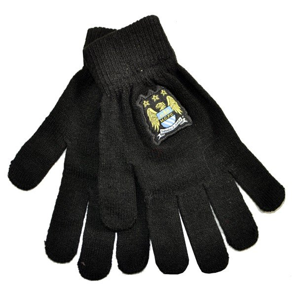 Manchester City Black Knitted Gloves