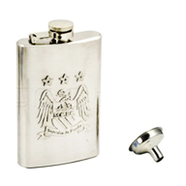 Manchester City Chrome Hipflask And Funnel