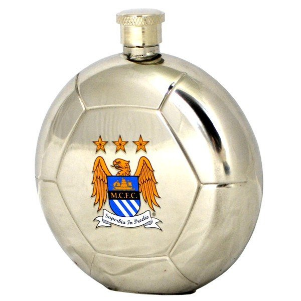 Manchester City Football Shaped Hipflask