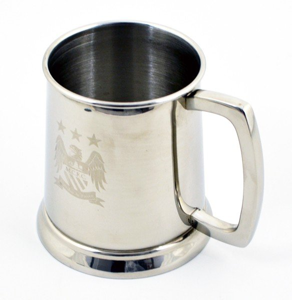 Manchester City Glass Base Stainless Steel Tankard