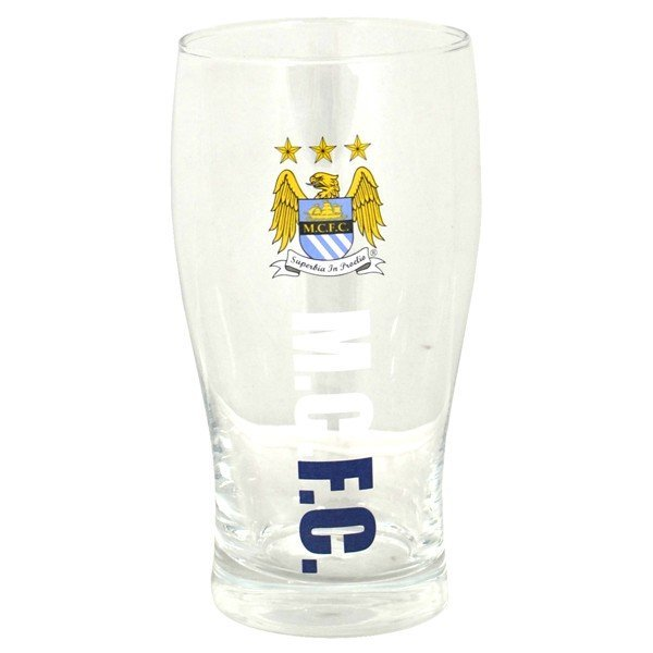 Manchester City Wordmark Crest Pint Glass