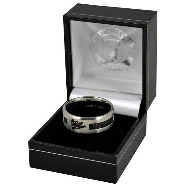 Manchester United Black Inlay Ring - Medium