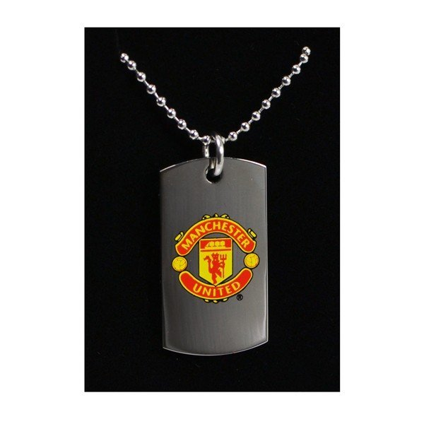 Manchester United Colour Crest Dog Tag & Chain