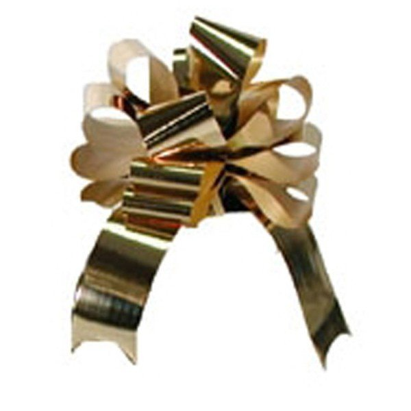 Midwest Ribbons 1.25 Inch Foil Pull Bows - Gold