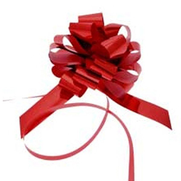 Midwest Ribbons 1.25 Inch Foil Pull Bows - Red