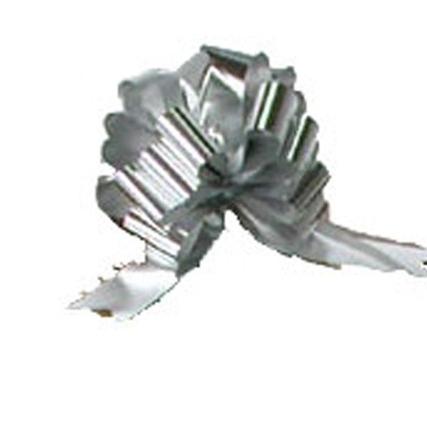 Midwest Ribbons 1.25 Inch Foil Pull Bows - Silver