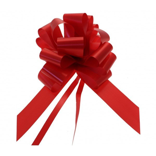 Midwest Ribbons 2 Inch Foil Pull Bows - Red