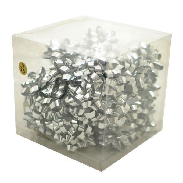Midwest Ribbons Metallic Confetti Bows - Silver
