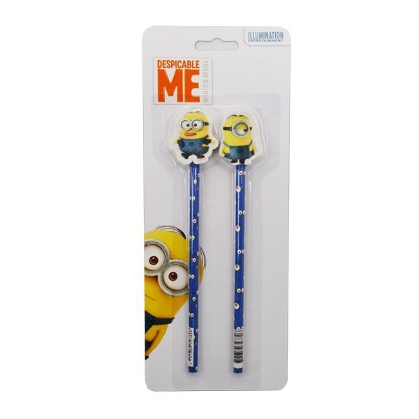 Minions 2Pk Pencil with topper
