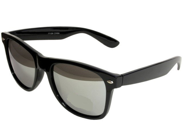 Unisex Silver Mirror Wayfarer Sunglasses With Black Frame UV400 Protection LD2843