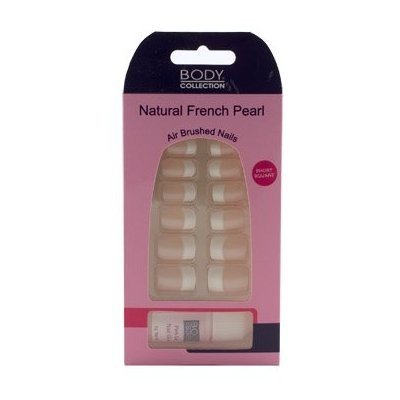 Body Collection Natural French Pearl Nails Short Square With Glue 1076