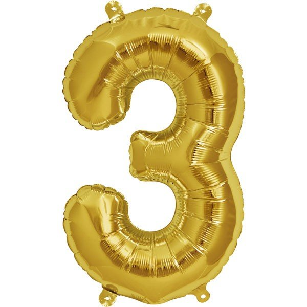NorthStar 16 Inch Number Balloon 3 Gold