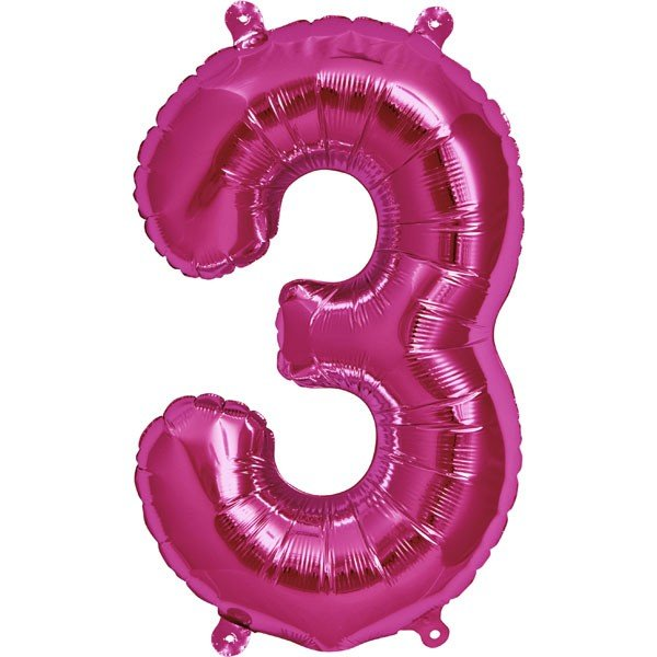 NorthStar 16 Inch Number Balloon 3 Magenta