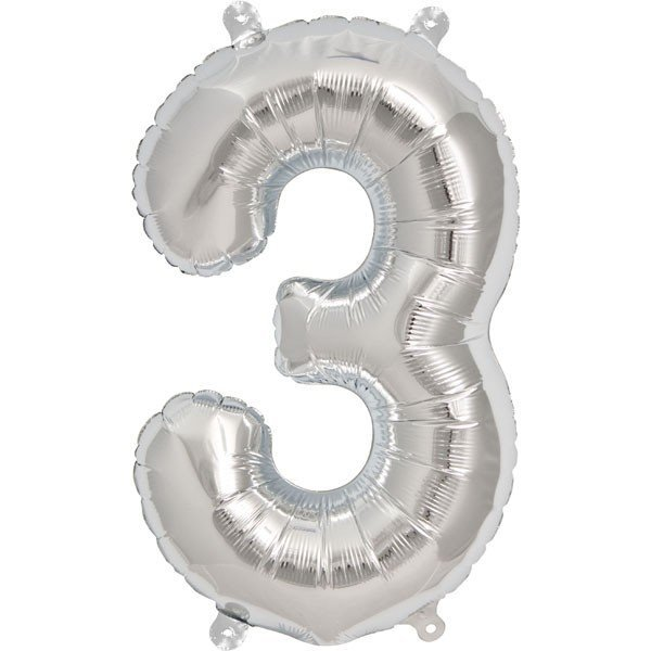 NorthStar 16 Inch Number Balloon 3 Silver
