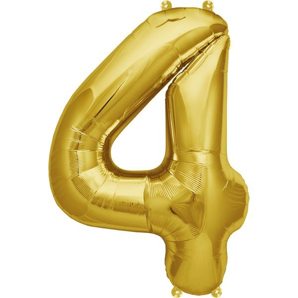 NorthStar 16 Inch Number Balloon 4 Gold