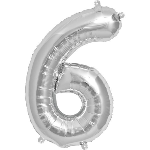 NorthStar 16 Inch Number Balloon 6 Silver