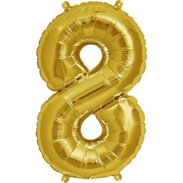 NorthStar 16 Inch Number Balloon 8 Gold