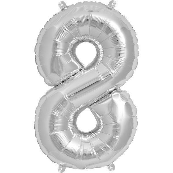 NorthStar 16 Inch Number Balloon 8 Silver