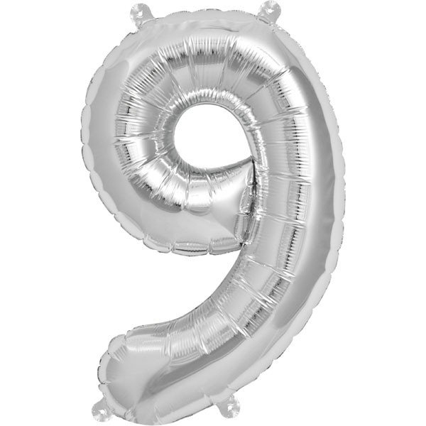 NorthStar 16 Inch Number Balloon 9 Silver