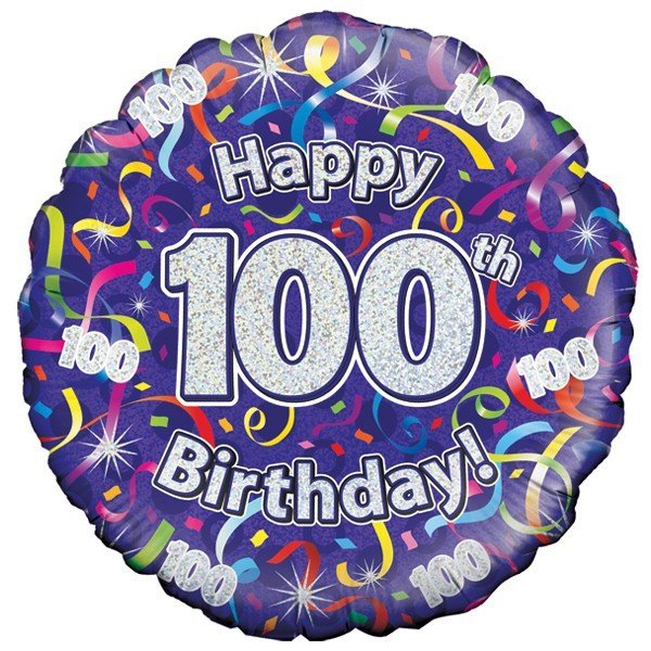 Oaktree 18 Inch 100th Birthday Streamers Holographic