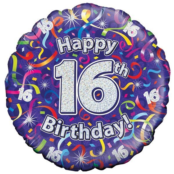 Oaktree 18 Inch 16th Birthday Streamers Holographic