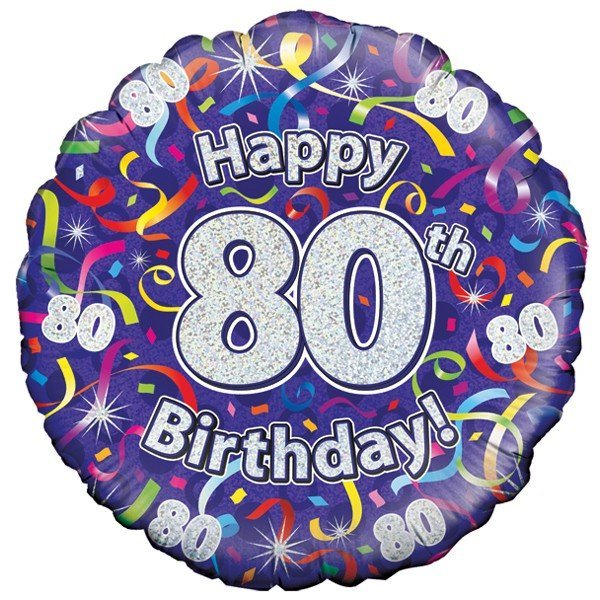 Oaktree 18 Inch 80th Birthday Streamers Holographic
