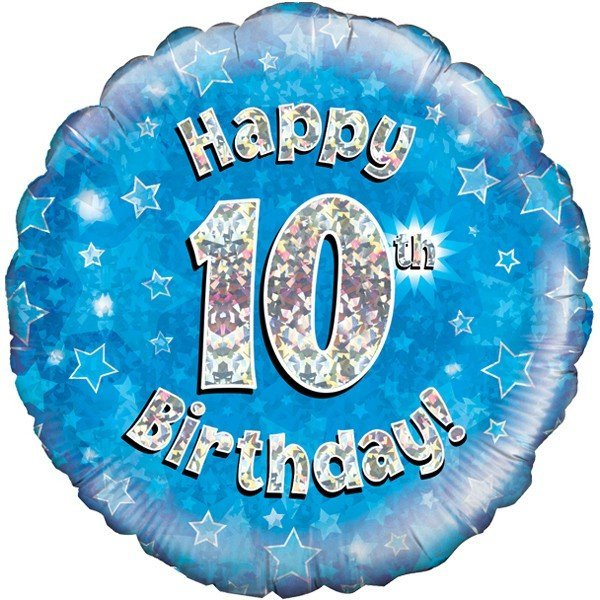 Oaktree 18 Inch Happy 10th Birthday Blue Holographic