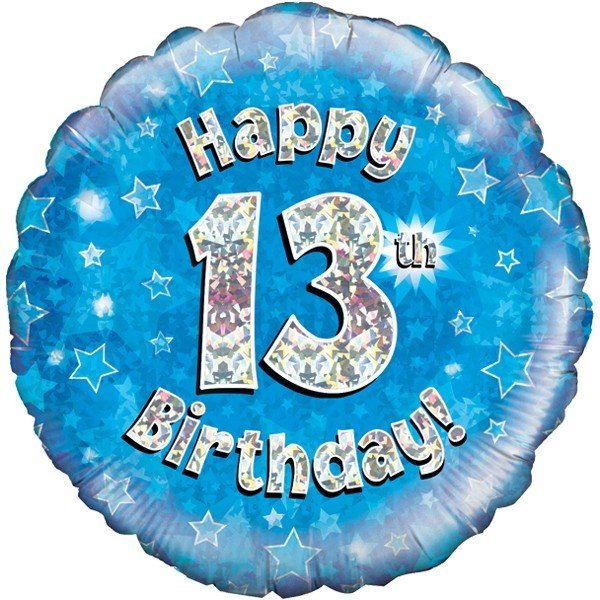 Oaktree 18 Inch Happy 13th Birthday Blue Holographic