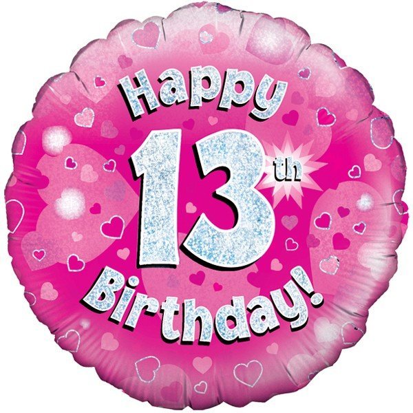 Oaktree 18 Inch Happy 13th Birthday Pink Holographic