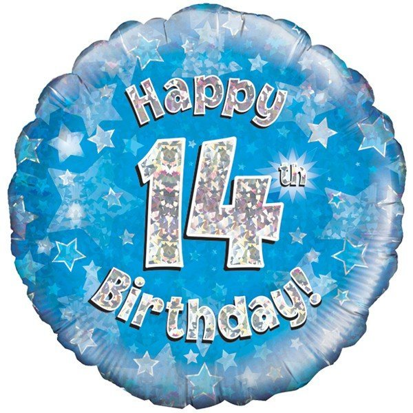 Oaktree 18 Inch Happy 14th Birthday Blue Holographic