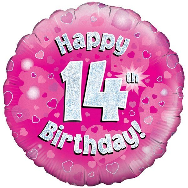 Oaktree 18 Inch Happy 14th Birthday Pink Holographic