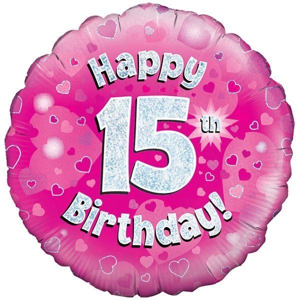 Oaktree 18 Inch Happy 15th Birthday Pink Holographic