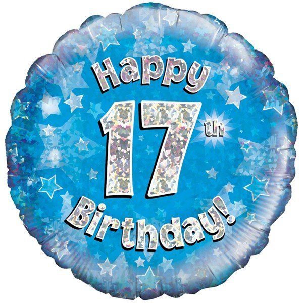 Oaktree 18 Inch Happy 17th Birthday Blue Holographic