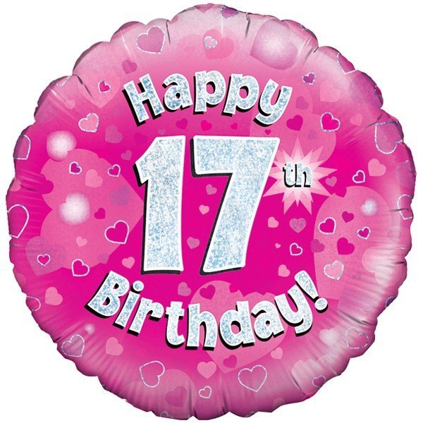 Oaktree 18 Inch Happy 17th Birthday Pink Holographic
