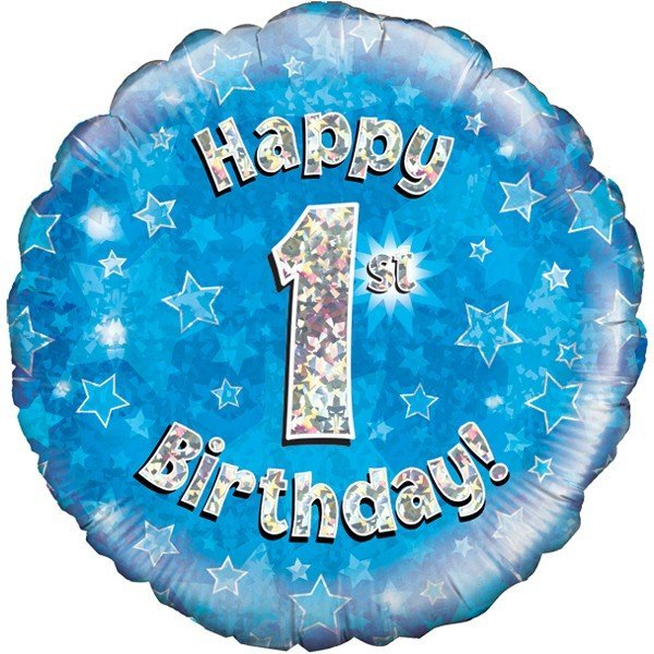 Oaktree 18 Inch Happy 1st Birthday Blue Holographic