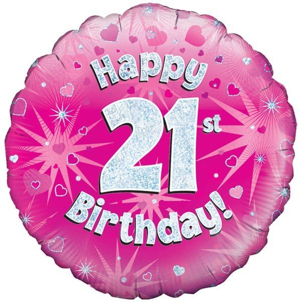 Oaktree 18 Inch Happy 21st Birthday Pink Holographic
