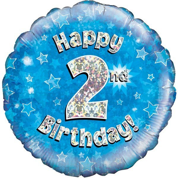 Oaktree 18 Inch Happy 2nd Birthday Blue Holographic