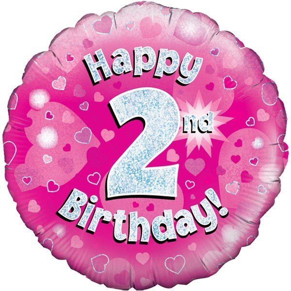 Oaktree 18 Inch Happy 2nd Birthday Pink Holographic