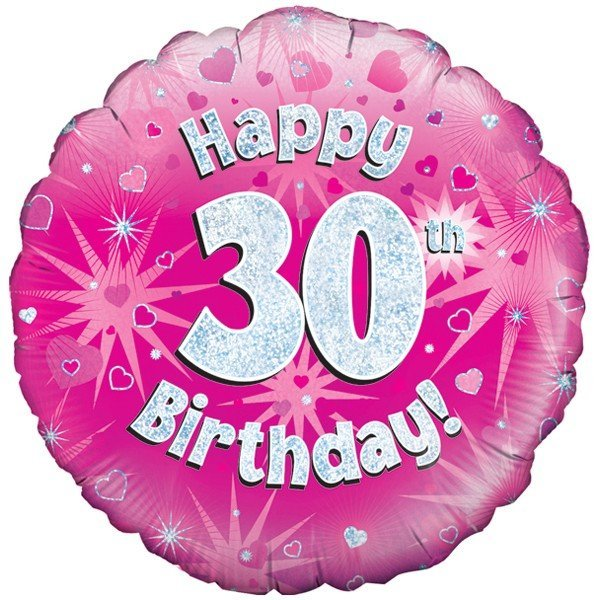 Oaktree 18 Inch Happy 30th Birthday Pink Holographic