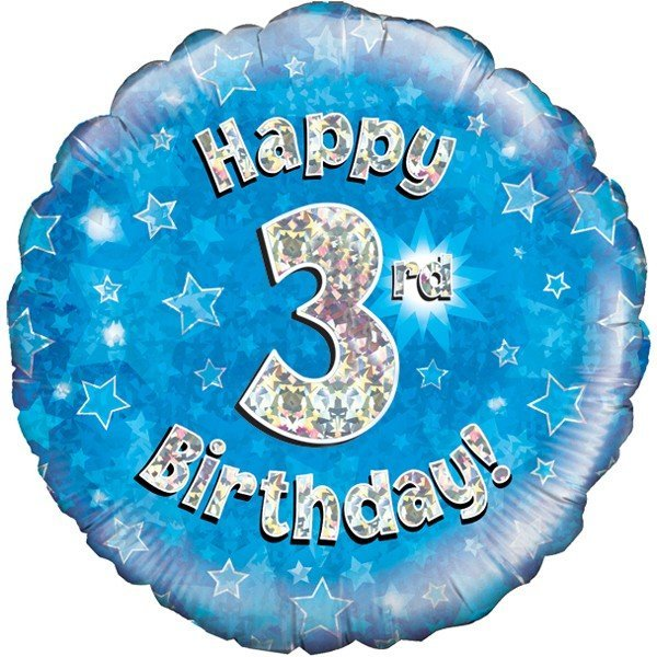 Oaktree 18 Inch Happy 3rd Birthday Blue Holographic