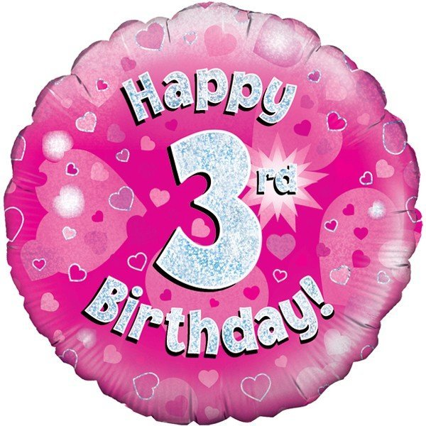 Oaktree 18 Inch Happy 3rd Birthday Pink Holographic